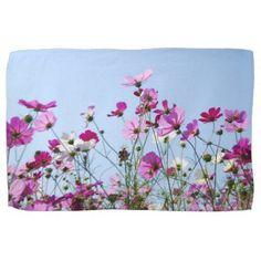 Pink and Purple Flower Meadow Kitchen Towel - summer gifts season diy template ideas