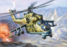 Soviet Mi-24 Hind on bombing mission in Afghanistan