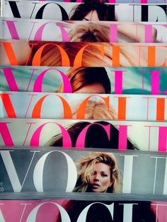 Get a whole bunch of magazines and make collage of some sort for a background, vogue is great cause there are many issues and that means more choses! Mix and match colors for the one look that fits what your looking for!