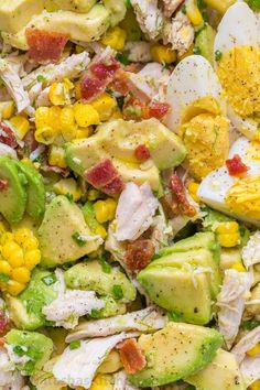 This Avocado Chicken Salad recipe is a keeper! Easy, excellent chicken salad with lemon dressing, plenty of avocado, irresistible bites of bacon and corn.