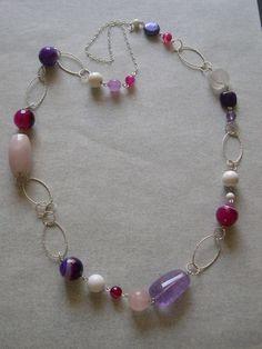 Lunga collana con pietre dure e argento 925