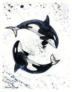Orca Whales Watercolor Print - Wall Art - Ocean Decor - Whale Art - Whale… art bathroom Items similar to Orca Print - Whale Art - Coastal Wall Art - Nautical Print - Trending Now - Nursery Wall Decor - Bathroom Wall Art - Killer Whale on Etsy Orca Tattoo, Whale Tattoos, Arte Orca, Orca Art, Orca Kunst, Animal Drawings, Art Drawings, Painting Prints, Whales