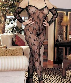 Queen Size Lace Bodystocking Shirley of Hollywood x96619