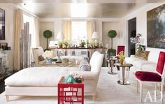 Room of the Day ~ original white and raspberry room with chaises, fun side table, greenery by Daniel Romualdez 5.28.2013