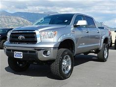 toyota+tundra+2014+silver+lifted | TOYOTA TUNDRA CREWMAX SR5 4X4 CUSTOM LIFT WHEELS TIRES AUTO TOW LOW ...