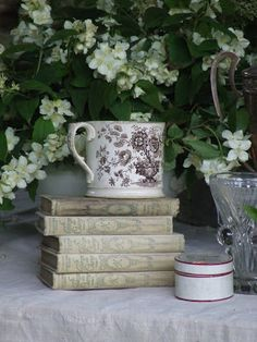 my french country home.old books displayed on table or shelf My French Country Home, Country Style Homes, Country Charm, French Style, Vignette Design, Coffee And Books, Stack Of Books, French Decor, Book Nooks