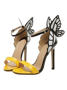 CHOiES Design - Yellow 3D Butterfly Ankle Strap Heeled Sandals