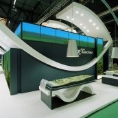 Great use of curves and lines for this booth! #design #tradeshow #exhibit