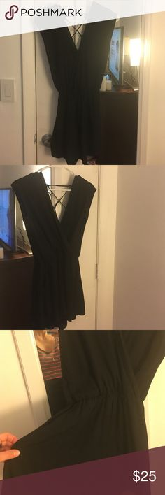 Small black romper with lace up back and pockets Small black romper with lace up tie back and with pockets! Worn once! Perfect go to romper Other