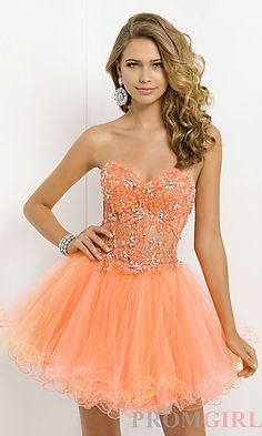 Short Strapless Dress with Corset Bodice at PromGirl.com
