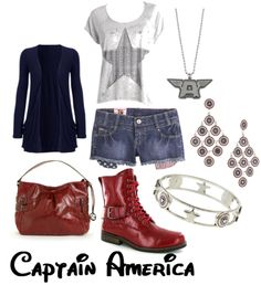 White star shirt/Jean shorts/Red lace up boots/Dark blue shall/Cap's shield earrings/Cap's symbol necklace/Red purse
