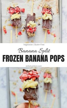 6 Ingredient Frozen Banana Split Pops - Sinful Nutrition A recipe for healthy frozen banana pops that taste just like a banana split! Made with only 6 simple ingredients, and is a summer desserts for kids of all ages Frozen Banana Pops, Frozen Banana Recipes, Frozen Desserts, Summer Desserts, Easy Desserts, Frozen Treats, Summer Recipes, Healthy Dessert Recipes, Real Food Recipes