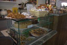 Sandwiches, quiche and cake at Camden Arts Centre's Cafe.