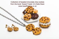 A selection of chocolate chip cookie projects, including a pendant and earrings, a fridge magnet and a plate of cookies. All the projects are available in my book