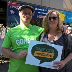 Winter in Townsville ... Medicare card not credit card ... you shouldn't have to save up for a blood test. Love that Gonski T shirt! #Inplast #ausunions