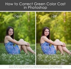 How to Correct Green Color Cast - Free Photoshop Tutorial via I Heart Faces
