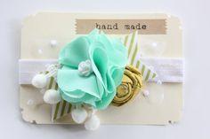 Flower Headband - Baby Girls Headband - Mint Mustard Yellow SALE. $14.99, via Etsy.