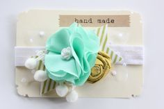 Flower Headband - Baby Girls Headband - Mint Mustard Yellow SALE. $14.99, via Etsy.