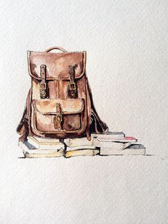 A mixed media illustration of a J. Hulme Co. Backpack Drawing, Bag Illustration, Illustration Fashion, Illustrations, Art Portfolio, Art Inspo, Watercolor Paintings, Watercolour, Painting & Drawing