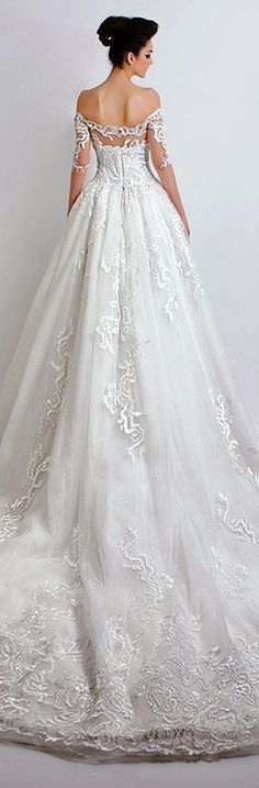 Dar Sara Bridal 2016 wedding dress pretty ball gown off the shoulder half filigree sleeves sweetheart neckline back view