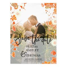 Save the date photo fall flowers typography postcard - autumn wedding diy marriage party personlize idea