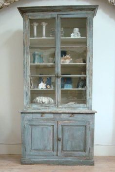 19th century French glazed cabinet with original paint impressive