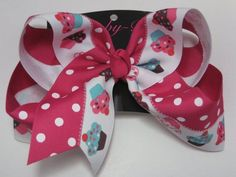 Xlarge cupcake bow with shocking pink and white polka dots