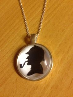 Sherlock Holmes Silhouette Necklace by EnchantingGlass on Etsy