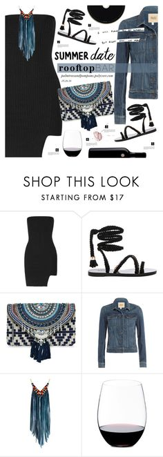 """Summer Date: Rooftop Bar"" by palmtreesandpompoms ❤ liked on Polyvore featuring Anthony Vaccarello, Raye, New Look, Paige Denim, Astali, Riedel, newlook, paige, summerdate and anthonyvaccarello"