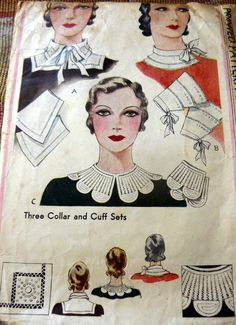 Pattern for collars to be added to existing clothing to make it look new and fashionable. During the depression there were lots of patterns produced to turn old clothes into the latest fashion, such as adding a new sleeve style or collar. Vintage Dress Patterns, Vintage Dresses, Vintage Outfits, 1930s Fashion, Vintage Fashion, Classic Fashion, Latest Fashion, Patron Vintage, Moda Vintage