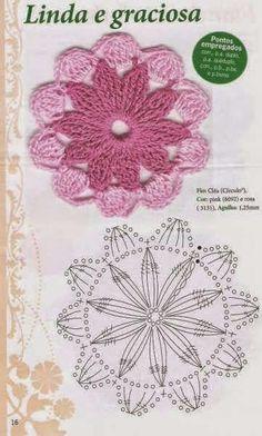 Watch The Video Splendid Crochet a Puff Flower Ideas. Phenomenal Crochet a Puff Flower Ideas. Crochet Circles, Crochet Motifs, Crochet Flower Patterns, Crochet Mandala, Crochet Diagram, Crochet Stitches Patterns, Crochet Chart, Crochet Squares, Love Crochet