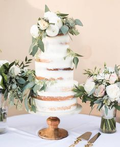 || Wedding Cake || you can't get better than a naked wedding cake. Foliage is a must for completing this look!