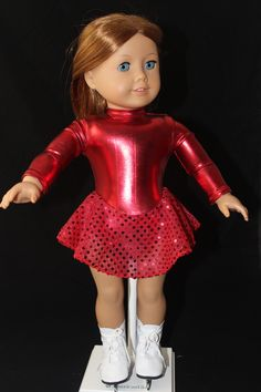 "MissyCrissy2 made this stunning crimson skating dress for American Girl dolls using Lee & Pearl's Pattern #1055: Skating Dresses for 18"" Dolls, available in our Etsy store at https://www.etsy.com/shop/leeandpearl"
