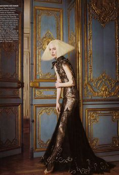Vogue US October 2007  Model: Raquel Zimmerman  Photog: David Sims  Fashion Editor: Grace Coddington  Hair: Guido  Makeup: Peter Phillips