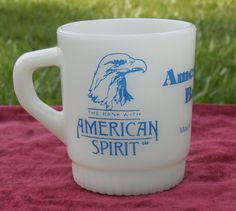 Fire King Bank Advertising Coffee Mug American