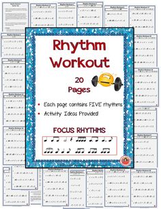 RHYTHM WORKOUT  •Rhythm is a vital concept for all musicians to understand! It needs constant reinforcement and that is why I have created Rhythm Workout.  FILE contains: -20 Rhythm Workout pages that increase in difficulty  -TWO pages of Teacher Tips and Ideas for using this resource!