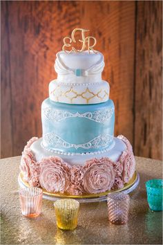 Fancy, fairytale inspired wedding cake. Choose a cake design that describes your love. In this case, the couple's love is filled with poise, magic and tenderness.