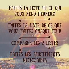 Make a list of what makes you happy Positive Attitude, Positive Vibes, Coaching, Jolie Phrase, Yes I Can, Miracle Morning, French Quotes, Yoga, You Funny