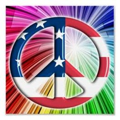AMERICAN FLAG PEACE SYMBOL.WITH A COLORFUL FIREWORKS LIKE BACKGROUND