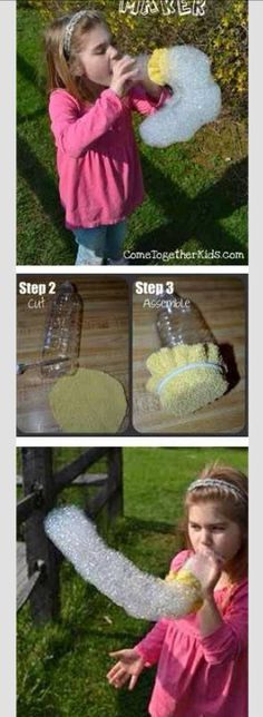 DIY big bubble maker for babysitting Babysitting Activities, Babysitting Fun, Summer Activities, Toddler Activities, Family Activities, Indoor Activities, Sensory Activities, Projects For Kids, Diy For Kids