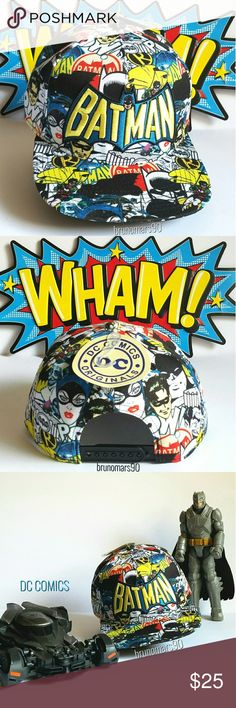 DC Comics Batman Retro Snapback Hat Show off your batman pride with this unisex DC Comics tri-color baseball cap. Features superhero Robin, on & off hero Catwoman, and villain the Joker with Batman logo on front panel. Adjustable, snapback closure. One size fits most. 80%cotton. No trades. DC Comics Accessories Hats