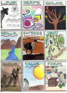 E's & P's: Gude suggests an elements and principles panorama or accordion fold book which is developed as a whole using the elements and principles. Another approach is the one I have used, making a series of artists trading cards that illustrate the elements and principles.