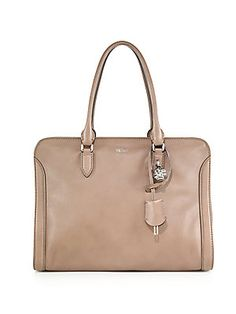 Saks-several colors, including white, camel, navy, red, grey, military, etc. Alexander McQueen Padlock Small Zip Satchel
