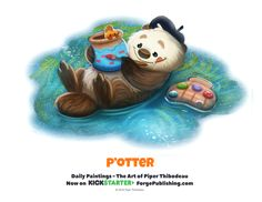 Daily P'otter by Piper Thibodeau on ArtStation. Cute Animal Drawings Kawaii, Kawaii Drawings, Cute Drawings, Cartoon Art, Cute Cartoon, Animal Puns, Animal Food, Chibi, Food Drawing