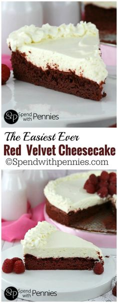 This is one of the easiest Red Velvet Cheesecake recipes you'll find! A simple Red Velvet caketopped with a deliciously quick no-bake cheesecake! Easy Red Velvet Cheesecake Recipe, Red Velvet Recipes, Simple Cheesecake, Easy Cheesecake Recipes, Easy Red Velvet Cupcakes, Red Velvet Cheesecake Cupcakes, Red Velvet Desserts, Birthday Cheesecake, Classic Cheesecake