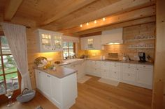 """Take a look at this beautiful and charming Log Home """"Unterwössen"""" crafted by the german company Chiemgauer Holzhaus Farmhouse Remodel, Kitchen Remodel, Casa Patio, Home Furnishing Stores, Rustic Home Interiors, Lodge Style, Traditional Bedroom, Wooden House, Log Homes"""