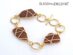 Brown Frosted Sea Glass Bracelet $25