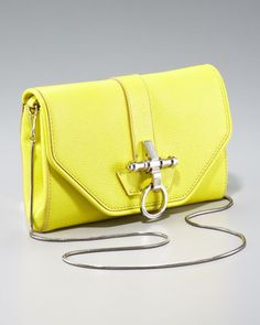 Obsedia Chain Clutch, Bright Yellow by Givenchy