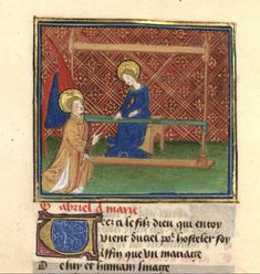 Annunciation, Pilgrimage of the Heart, BNF Fr. 376, fol. 116v, second quarter of the 15th century.