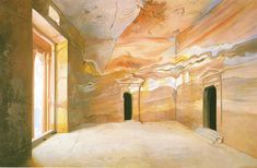 Sandstone Wall Drawing by Graham Rust | Paint + Pattern. Trompe l'oeil.  #Mural  #Interior #Design